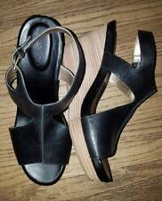 Me Too Atlantic Black Leather Ankle Strap Wedge Sandal 11M