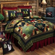 TIMBERLINE ** King ** QUILT : LODGE MOOSE BEAR CABIN PINE TREE RED GREEN BUFFALO