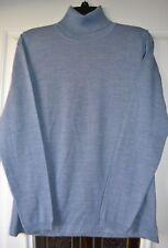 Luigi Baldo Ladies Merino Wool Turtleneck Sweater Blue Melange Large from Italy