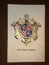 Stemma Stato della Chiesa - Stato Pontificio Cromolitografia del 1857 Araldica