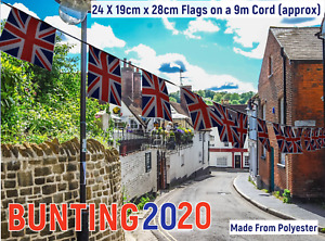 UNION JACK BUNTING, 24 x 20 x 30cm POLYESTER FLAGS ON 9M REINFORCED TAPE.