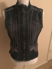 Ethyl Vintage Denim Sleeveless Zippered Womans Embroidered Jean Jacket Small