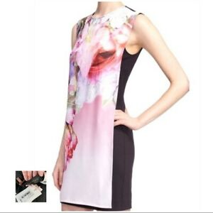 NEW TED BAKER $295 Milisa Pure Peonie Floral Shift Mini Tunic Dress SIZE 2