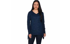 LOGO by Lori Goldstein Melange Cotton Cashmere Sweater Marine XS A282340 QVC J