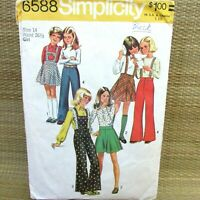 Simplicity 6588 Girls Bell Bottom Pants Bibs Suspenders Bias Skirt Sz 14 VTG 70s