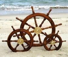 "Ship Wheel Antique Replica HM536Steering Decorative Wooden Brown 15"",18"",24"" INC"