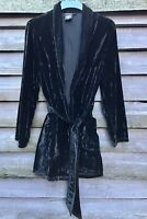 Whistles Black Crushed Velvet Shawl Collar 'Smoking'Jacket, Tie Belt Size M UK12