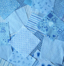 Nursery fabric. Patchwork squares 4 x 4 in.Baby Pink or Blue. Packs of 25 or 50
