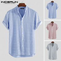 Summer Mens Short Sleeve Striped Shirt Loose Fit Button Down T Shirt Blouse Tops