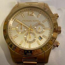 Michael Kors MK8191 Yellow Gold Chronograph Men's Watch 44mm Case EUC