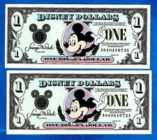 "RARE 2 CONSECUTIVE 1994 ISSUE USA DISNEY ""MICKEY"" ONE DOLLAR SERIES GEM UNC"