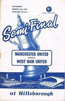 Football Programme Cover Reprints F.A.Cup Semi Final Man Utd. v West Ham 1964