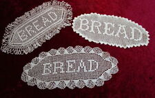 """Vintage HAND CROCHETED  """" BREAD """"  DOILIES ~ set of 3 ~ all different ~ 13"""" x 6"""""""