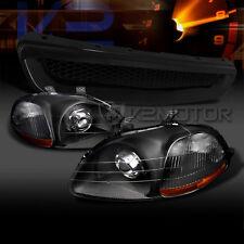 For 96-98 Honda Civic JDM Crystal Black Projector Headlights+JDM ABS Hood Grille