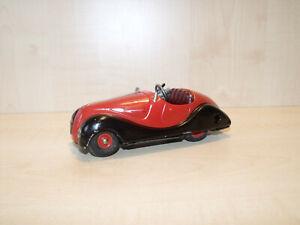 9035) Schuco Akustico 2002 - Limousine rot / schwarz - Uhrwerk intakt - L 14 cm
