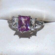 exquisite pink gemstone diamond ring 10K white gold 7