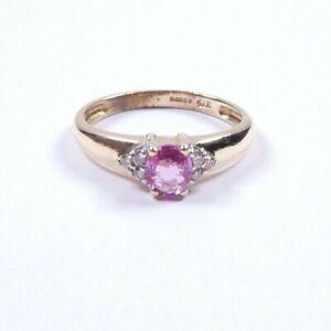 Pink Tourmaline and Diamond cluster ring 9 carat yellow gold size M1/2