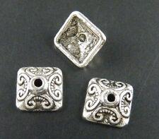 180pcs Tibetan Silver Nice Flower Square Bead Caps 10x10mm 893