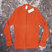 NEUF BURBERRY PRORSUM orange fermeture éclair vêtements en tricot véritable