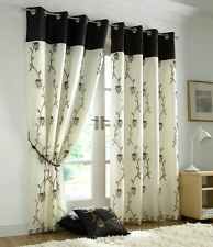 Tahiti Floral Lined Eyelet Voile Curtains Ready Made Curtain Pairs Chocolate & Cream 56 Wide X 90 Drop
