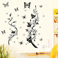 Schmetterling Blumen Baum Wandaufkleber Removable Decor Vinyl Kunst Wandtattoo