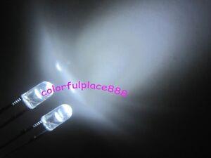 100pcs 3mm White Round Flangeless Water Clear LED Leds Light + Resistors for 12V