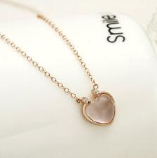 S925 Sterling Silver Heart Shaped Nature Rose Quartz Necklace/Gemstone/Crystal
