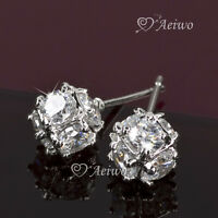 EARRINGS STUD 9K GF 9CT WHITE GOLD FILLED CUBIC ZIRCONIA SPARKLING BALL