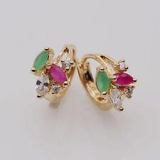 Exquisite Emerald Ruby Hoop Earring 18K Yellow Gold Plated ZN Women Earring