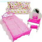 Bedroom Furniture Bed Dresser Chair Sofa Toys For Barbie Doll House Kid Gift