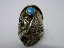 VINTAGE STERLING SILVER TURQUOISE EAGLE RING SIZE 11 BY NAVAJO TOM HASTEEN?