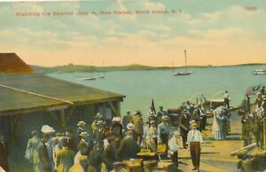 BLOCK ISLAND RI – New Harbor Watching the Steamer Come In
