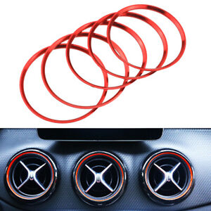 For Mercedes Benz CLA Class 13-18 AC Outlet Decor Trim 5pc Red Aluminum Ring Set