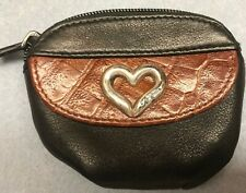 Brighton Small Coin Change Purse Bag  Zippered Black Brown Leather-Vintage