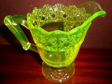 Vaseline glass daisy and button queens creamer cream pitcher uranium coffee milk