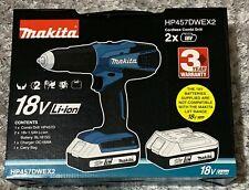 Makita Cordless 18V Li-Ion Combi Drill 2 Batteries HP457DWEX2 - Brand New
