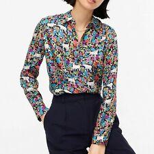 NWT J Crew COLLECTION Silk Twill Button Up Shirt Grazing Goats Print Sz 6 8 $128