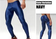 Men's Large Metallic Blue Compression Running Tights Training Activewear Gay UK