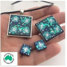 Southern Cross Stars Constellation Galaxy Opal Jewellery Set Necklace Studs RIng