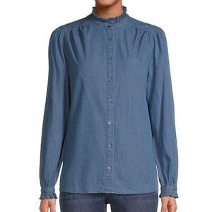 St Johns Bay Chambray Ruffle Button Up Blouse Women XL Long Sleeve NEW