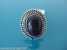 Ladies' Beautiful Large Blue Oval Sunstone / Gold Stone German Silver Ring Sz 9