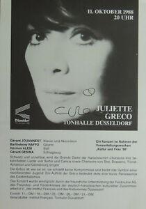 Juliette Greco, TV Fernsehn, Bühne, Autogramm Blatt handsigniert 14x20 cm, #84