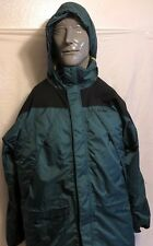 VTG LL Bean Green Insulated Hooded Rain Jacket Sz Medium Zip Up Lined Weather