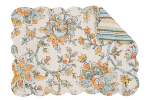 AINSLEY Quilted Reversible Placemat by C&F - Blue, Coral, Gold Jacobean on White