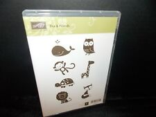 Stampin Up Fox & Friends Lion Turtle Giraffe Monkey 7 Clear Mount Stamps L0618