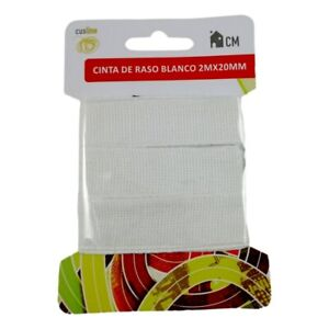 Ruban 100% Coton Blanc 2M x 20mm Couture Mercerie Scrapbooking Broderie