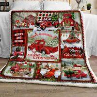 Red Truck Christmas Sofa Fleece Blanket 50-80