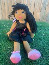 Dan Dee Brown Skin Ballerina Doll Black Yarn Hair Black Dress Plush Toy 17.5""