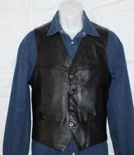 Superb Black Leather Button Biker Cowboy Western Casual Vest Waistcoats Size M