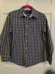 Wrangler Jeans Co. Boys Size 10/12 L Blue And Grey Plaid Long Sleeve Dress Shirt